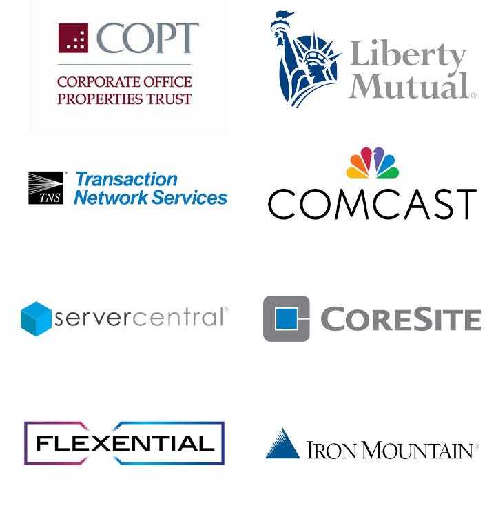 COPT, Liberty Mutual, Comcast, Server Central, Coresite, TNS, Flexential, Iron Mountain